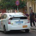 Primeras matrículas traseras azules en los taxis de Sevilla