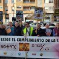 La manifestación de taxistas de Valencia colapsa el centro