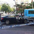 Siete heridos tras colisionar un VTC con un autobús de la EMT en Madrid