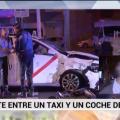 Brutal choque de un coche de la Policía con un taxi en plena Castellana