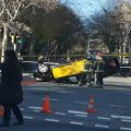 Brutal accidente de un taxi en la Avenida Diagonal de Barcelona